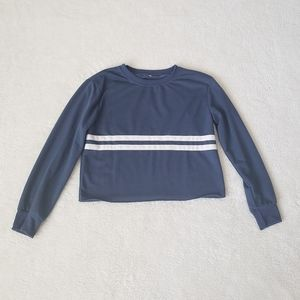 Tops - Blue Cropped Long Sleeve with White Stripes